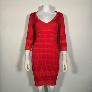 Missoni Bodycon Knit Dress Red Pink Italy Sz 4